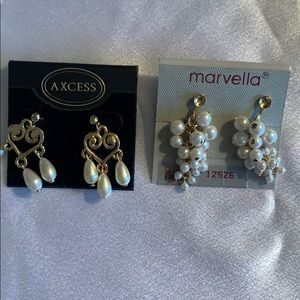 2 pairs Marvella  and Axcess pearl earrings